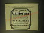 1902 Chicago & North-Western Railway Ad - Three trains a day to California