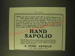 1902 Hand Sapolio Soap Ad - A Pure article free from animal fats