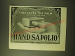 1902 Hand Sapolio Soap Ad - The soap that takes the palm for toilet and bath
