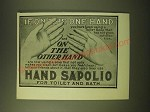 1902 Hand Sapolio Soap Ad - If, on the one hand you have been using a toilet