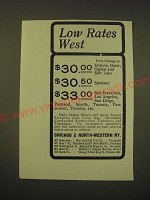 1902 Chicago & North-Western Railway Ad - Low Rates West