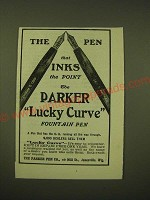 1902 Parker Lucky Curve Fountain Pen Ad - The pen that inks the point