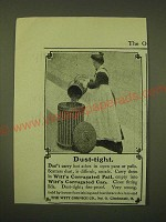 1902 Witt Cornice Corrugated Pail and Witt's Corrugated Can Ad - Dust-Tight