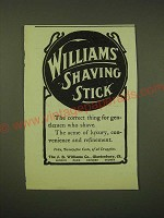 1902 Williams' Shaving Stick Ad - Williams' Shaving stick the correct thing