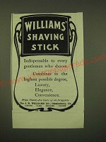 1902 Williams' Shaving Stick Ad - indispensable to Every Gentleman