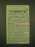 1902 Post Grape-Nuts Cereal Ad - Expansive Girl not necessarily an Expensive One
