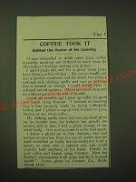 1902 Postum Food Coffee Ad - Coffee took it robbed the doctor of his cunning