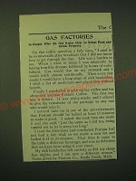 1902 Postum Food Coffee Ad - Gas factories in people who do not know how