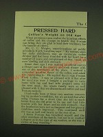 1902 Postum Food Coffee Ad - Pressed hard coffee's weight on old age