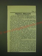 1902 Postum Food Coffee Ad - Sweet breath when coffee is left off