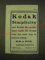 1902 Eastman Kodak Ad - Kodak Simplicity and Kodak film quality