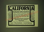 1902 San Francisco California Ad - California Reliable Information
