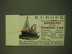 1902 Dominion Line Ad - Europe sail from Boston to the Mediterranean