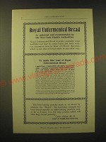 1893 Royal's Baking Powder Ad - Royal Unfermented Bread as endorsed