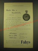 1893 Fahys Monarch 14 Karat Gold Filled Watch Case Ad - Made like a Sandwich