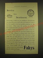 1893 Fahys Monarch 14 Karat Gold Filled Watch Case Ad - Service before sentiment