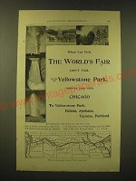 1893 Northern Pacific Railroad Ad - Visit the World's Fair see Yellowstone
