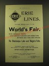 1893 Erie Lines Ad - Erie Lines the most popular route to the World's Fair