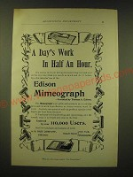 1893 Edison Mimeograph Ad - A day's work in half an hour
