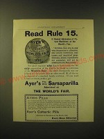 1893 Ayer's Sarsaparilla Ad - Read Rule 15