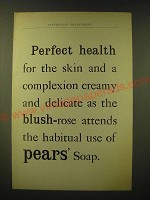 1893 Pears' Soap Ad - Perfect health for the skin and a complexion creamy