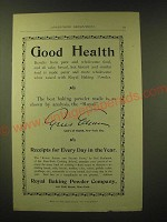1893 Royal Baking Powder Ad - Good Health