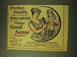 1893 Ferris' Good Sense Corset Waist Ad - Perfect health, beauty and comfort