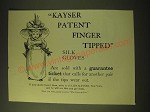 1893 Kayser Patent Finger Tipped Silk Gloves Ad