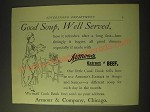 1893 Armour's Extract of Beef Ad - Good soup, well served
