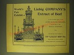 1893 Liebig Company's Extract of beef Ad - World's Fair Exhibit of Liebig