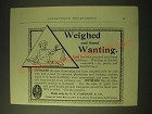 1893 N.K. Fairbank & Co. Cottolene Ad - Weighed and found wanting