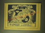 1893 Sapolio Soap Ad - I will live cleanly as a nobleman should