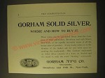 1893 Gorham Manufacturing Co. Silversmiths Ad - How to Buy It