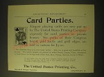 1893 The United States Printing Company Congress Carton Cards Ad - Card Parties