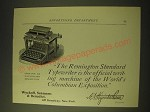 1893 Remington Standard Typewriter Ad - The Official Writing Machine