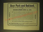 1893 Baltimore and Ohio Railroad Ad - Deer Park and Oakland