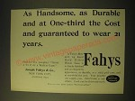 1893 Fahys 14 Karat Gold Filled Watch Case Ad - As handsome, as durable