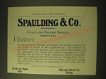 1893 Spaulding & Co. Gold and Silver Smiths Ad - Visitors