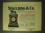 1893 Spaulding & Co. Gold and Silver Smiths Ad - clocks in ebony and bronze