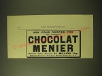 1893 Chocolat Menier Ad - Ask your grocer for the celebrated Chocolat Menier