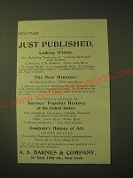 1893 A.S. Barnes & Company Ad - Just published