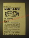 1893 Best & Co Liliputian Bazaar Clothes Ad - Baby's Ears too Prominent