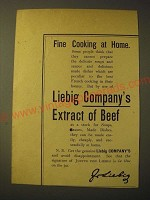 1893 liebig Company's Extract of beef Ad - Fine cooking at home