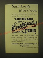 1893 Helvetia Highland Evaporated Unsweetened Cream Ad - Such lovely rich cream