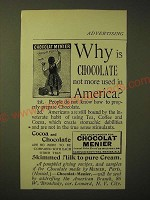 1893 Chocolat Menier Ad - Why is chocolate not more used in America?