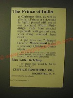 1893 Curtis Brothers Ad - Plum Puddings, Mince-Meat and Blue Label ketchup