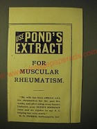 1893 Pond's Extract Ad - Use Pond's Extract for muscular rheumatism