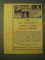 1893 Pond's Extract Ad - Pond's extract is the children's medicine chest