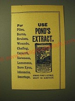 1893 Pond's Extract Ad - For piles, burns, bruises, wounds, chafing, catarrh