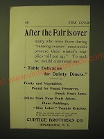 1893 Curtice Brothers Food Ad - After the fair is over